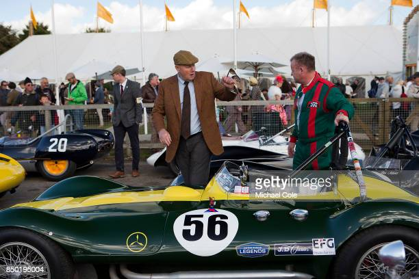 Derek Hood of JD Classics Nick Riley 1956 ListerMaserati in foreground at Goodwood on September 9th 2017 in Chichester England