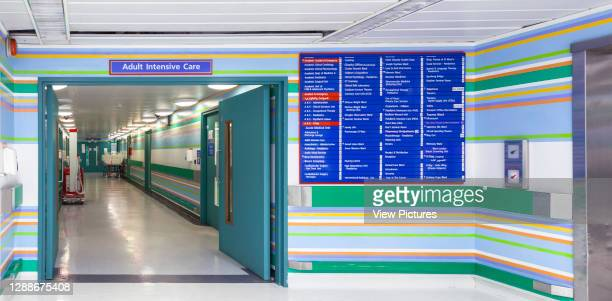 9th floor view through doors. St Mary's Hospital, London, United Kingdom. Architect: Bridget Riley, 2014.