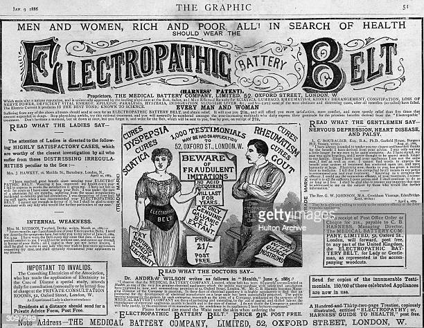 An 'Electropathic Battery Belt' promising ' the best tonic known to science' for ladies and gentlemen curing rheumatism dyspepsia sciatica gout and...