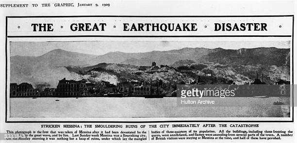 Newspaper report describing the destruction following the earthquake at Messina in 1908 in which threequarters of the town's population died Original...