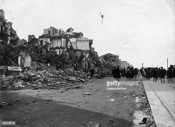 The ruins of a house at Reggio di Calabria destroyed by an earthquake