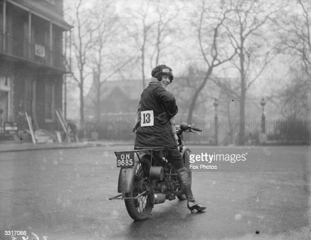 Woman entrant in the Ladies only Motor Cycle Reliability Trial at Alexandra Palace, London.
