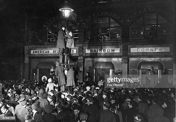 A dense crowd packs Shaftesbury Avenue in London on the occasion of the closing of Rainbow Corner the American Servicemen's Club in London