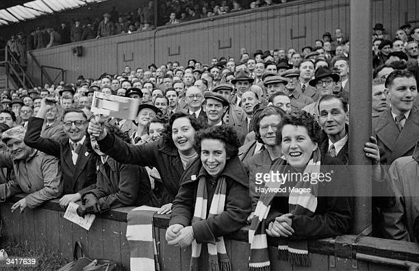Bristol Rovers supporters cheer on their team Original Publication Picture Post 6864 Bristol Rovers No Buy No Sale pub 1954