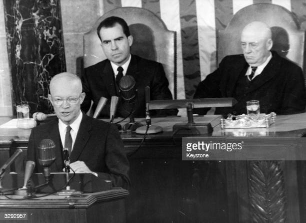 The American General and 34th President of the United States Dwight D Eisenhower giving his State of the Union address at the US Congress in...