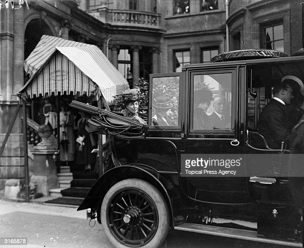 Queen Alexandra, , queen-consort of British monarch Edward VII, leaving the Queen Alexandra Hospital Home for Discharged Men after attending the...