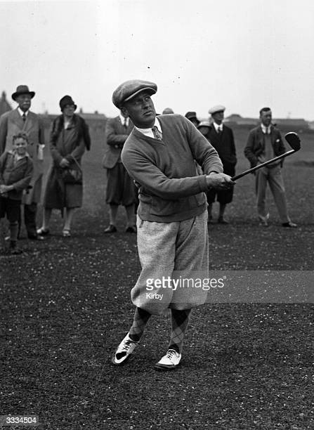 Bobby Jones champion American golfer who won the British Open three times and the US Open four times in action during the British Open Championship...