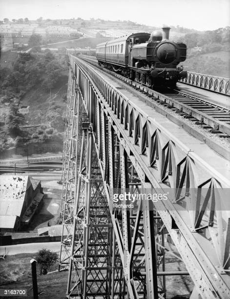 A train crossing the Crumlin Viaduct in Monmouthshire