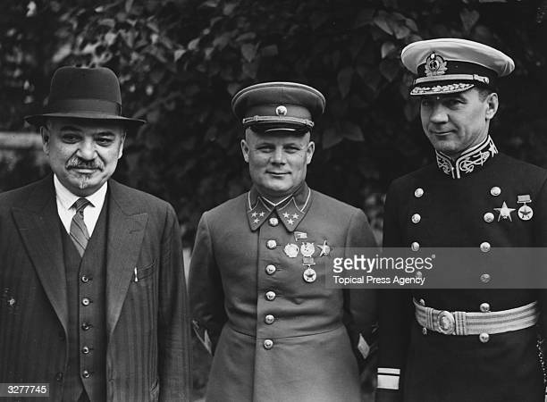 Left to right Russian ambassador Ivan Mikhailovich Maisky Lt General Golikov and Rear Admiral Kharlamov outside the Russian Embassy in London during...