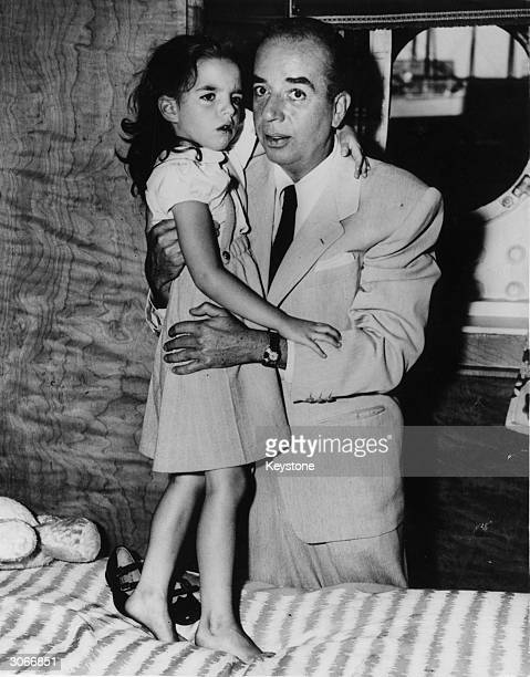 Liza Minnelli saying goodbye to her father film director Vincente Minnelli aboard the Queen Elizabeth just before sailing to join her mother Judy...