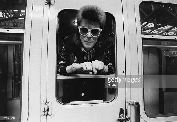 Pop singer David Bowie prepares to do some mileage with British Rail