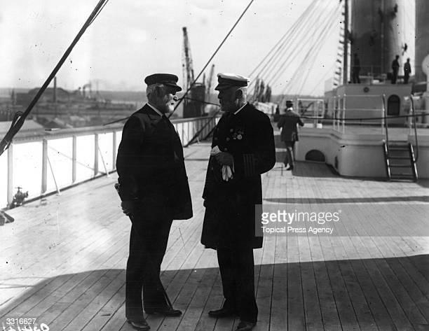 Lord Pirrie and Captain Smith later captain of the illfated 'Titanic' aboard the White Star liner 'Olympic' at Southampton