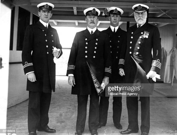 Officers of the White Star liner 'Olympic' including Lieutenant Murdoch and Captain John Smith later captain of the illfated 'Titanic'