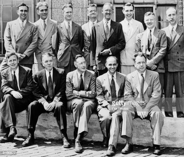 Some of the American scientists who were instrumental in developing the atom bomb gather to celebrate the opening the 'Institute of Nuclear Studies...