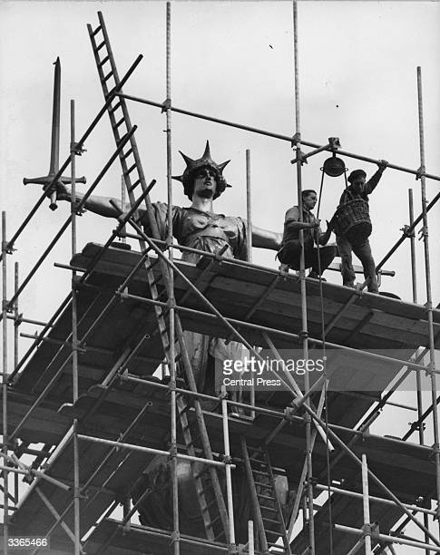 Scaffolding erected around the statue of Justice above the Central Criminal Courts at the Old Bailey in London Work to clean up the statue coincides...