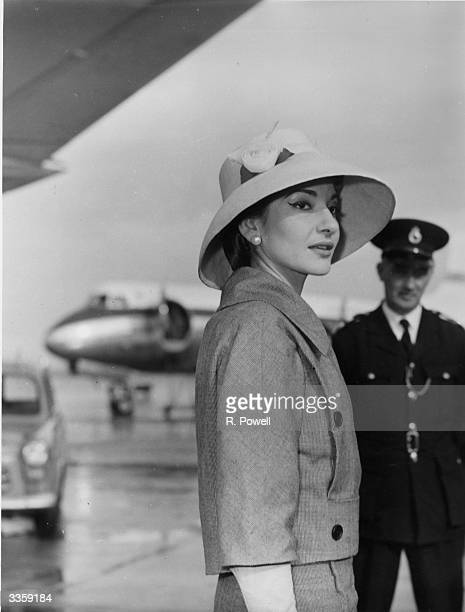 American opera singer Maria Callas at London Airport.