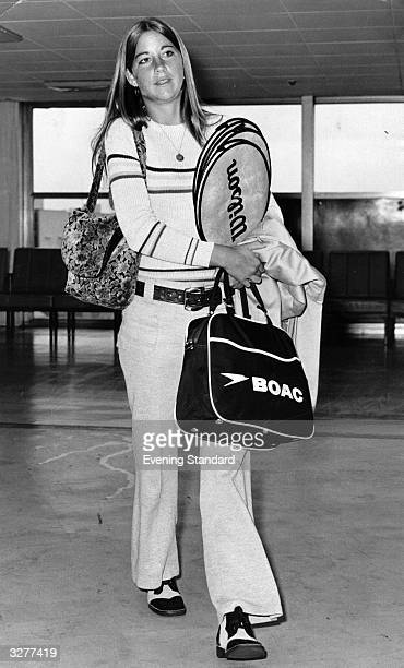 American tennis player Chris Evert arriving in London to play in the Wightman Cup Tournament