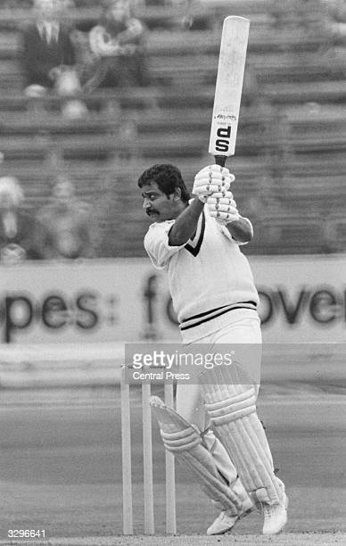 One of the top scorers in a West Indies v India match G S Vishwanath seen batting