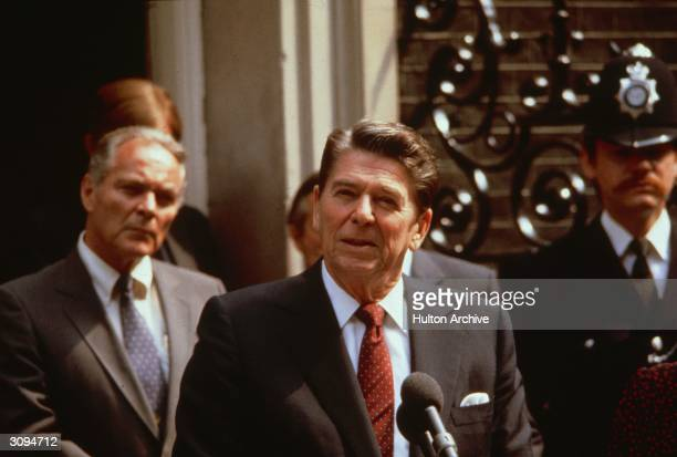 American statesman Ronald Reagan the 40th President of the United States of America and his secretary of state Alexander Haig outside 10 Downing St...