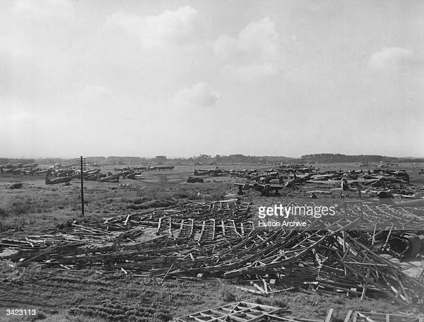 An airfield near Tokyo where the Japanese airforce has been destroyed by the Allied aircraft bombing campaign.