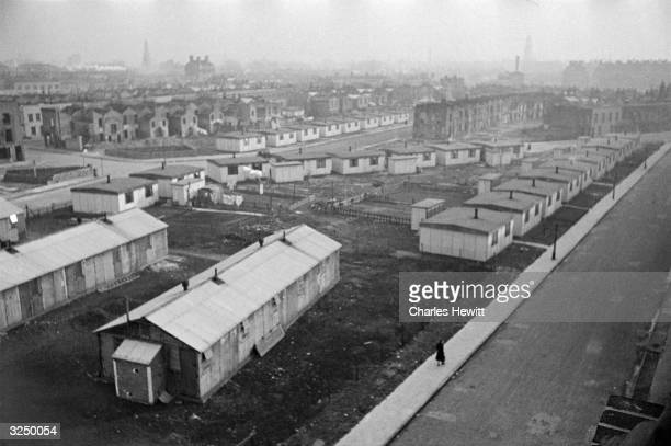 Prefabricated housing estate in the East End, an area which London County Council plans to reconstruct under its post-war rebuilding programme....
