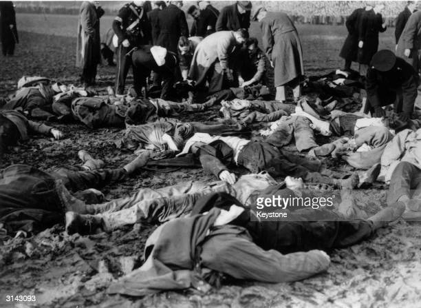 The bodies of some of the 33 spectators who were trampled to death in a stampede after a barrier collapsed during the FA Cup match between Stoke and...
