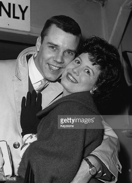 Marty Wilde formerly Reginald Smith the pop singer leaves London Airport for a tour of America with his wife Joyce