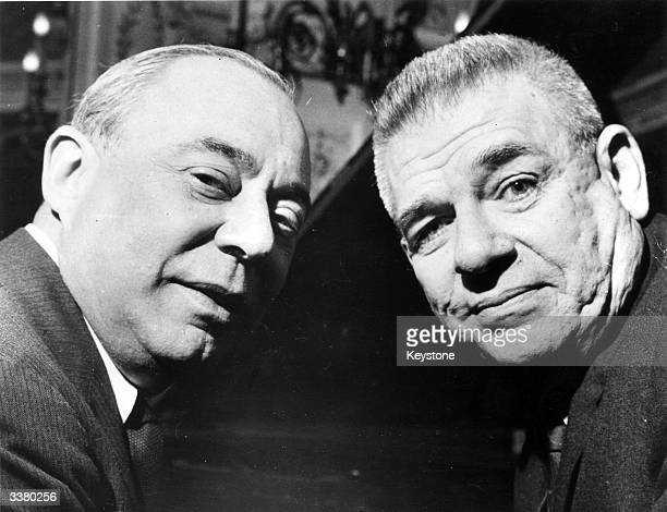 Richard Rodgers and Oscar Hammerstein in London to promote their new show 'Flower Drum Show'