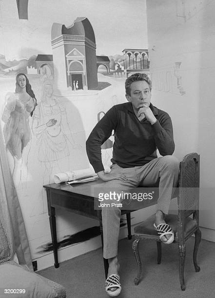 Stage and film actor Peter Finch at his home ten miles outside London