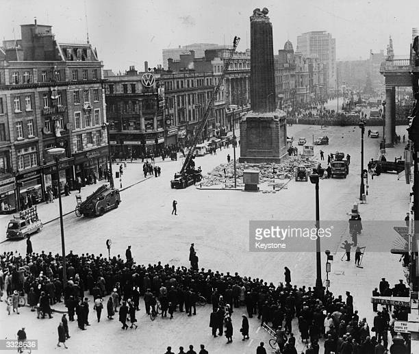 During the 50th anniversary year of the 1916 Easter Rising the Irish Army remove the remainder of Nelson's Pillar in the centre of O'Connell Street...