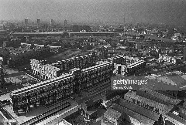 A view over the Isle of Dogs with London's docks in the background