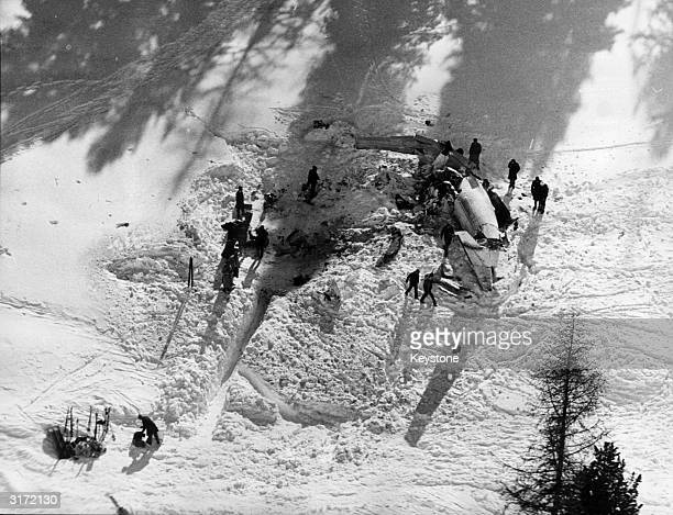 The wreckage of a Bavaria Air Company twinengined Jetstream aircraft which crashed during its approach to Samedan airport St Moritz on 6th March 1970