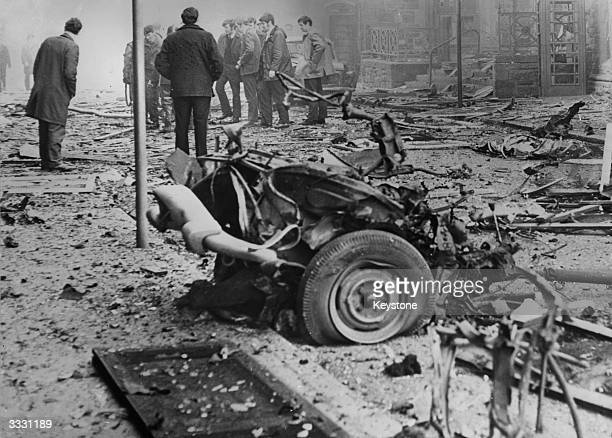 The wrecked car in which a large bomb exploded outside the General Post Office in Derry City