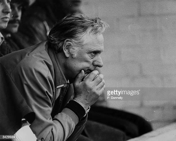 Peter Taylor the Nottingham Forest manager watching his team play Ipswich Town in the sixth round of the FA Cup