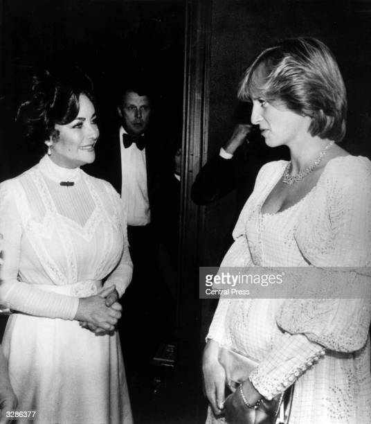Actress Elizabeth Taylor with the Princess of Wales after a performance of 'Three Little Foxes' at the Victoria Palace Theatre London