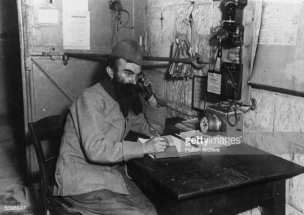 A French telegraphist in Verdun in northeast France scene of a long and extremely bloody battle between French and German troops