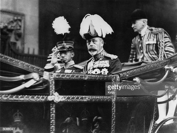 King George V of Great Britain leaves Victoria Station for Buckingham Place with Crown Prince Hirohito of Japan