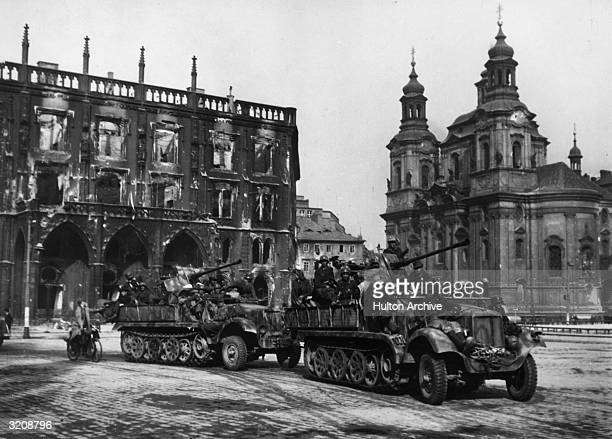 View of German troops exiting Prague in trucks after their surrender Czechoslovakia World War II