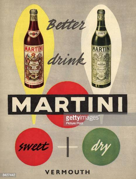 Two bottles of Martini a Vermouth wine one sweet one dry Original Publication Picture Post Ad Vol 59 No 8 P 7 pub 1953