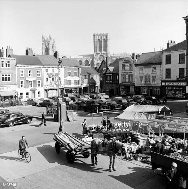The market square in York city North Yorkshire