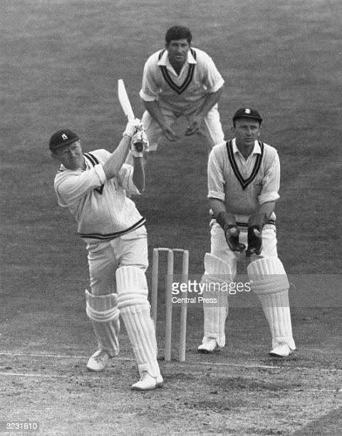 CHECK HIRES IF SUPPLYING DIGITALLY England and Warwickshire batsman Michael John Knight Smith or M J K Smith at the crease against Surrey at the Oval