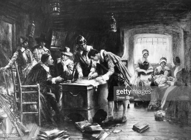 9th November 1620 Signing the Mayflower Compact' by Edward Percy Moran aboard ship the pilgrims are signing an agreement for temporary government of...