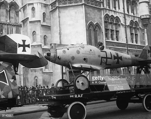 On display at the Lord Mayor's Show - a German Pfalz plane, shot down near Arras on 17th October 1918.