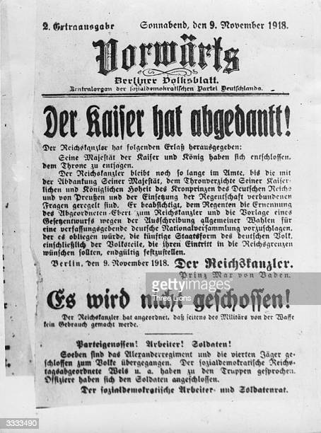 The first announcement of the Berlin Revolution, which broke out on November 9th 1918, in the 'Vorwaerts', the organ of the Social-Democratic Party,...