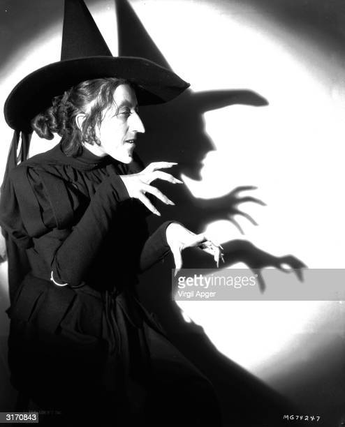 Margaret Hamilton in the role of Miss Gulch, The Wicked Witch of the West, in the musical 'The Wizard of Oz', directed by Victor Fleming for MGM.