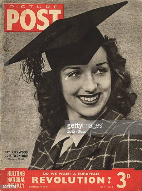 Nineteenyearold actress and singer Patricia Kirkwood visits Oxford University and dons one of the mortarboards worn by graduands The headline beneath...