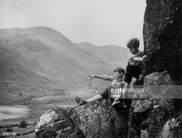 Two young evacuees from London enjoy the sights of the Lake District