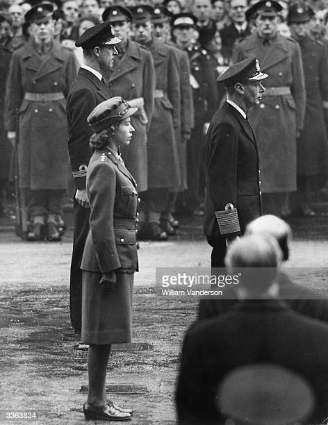 Remembrance Day at the Cenotaph in London Lieutenant Mountbatten Princess Elizabeth and King George VI