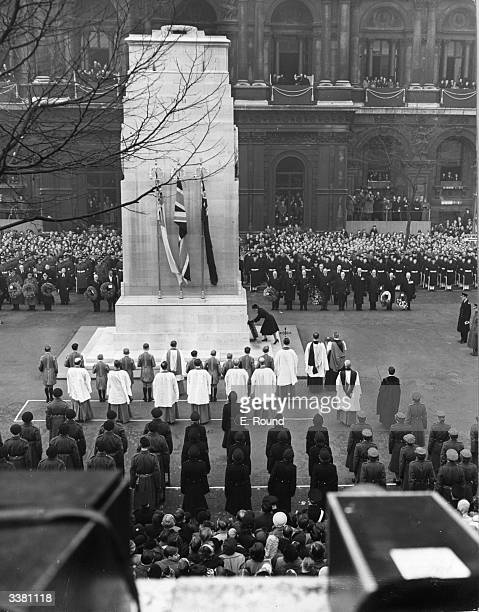 Queen Elizabeth II lays her wreath at the foot of the Cenotaph, a monument to those killed in World War I, during the Remembrance Day ceremony at...