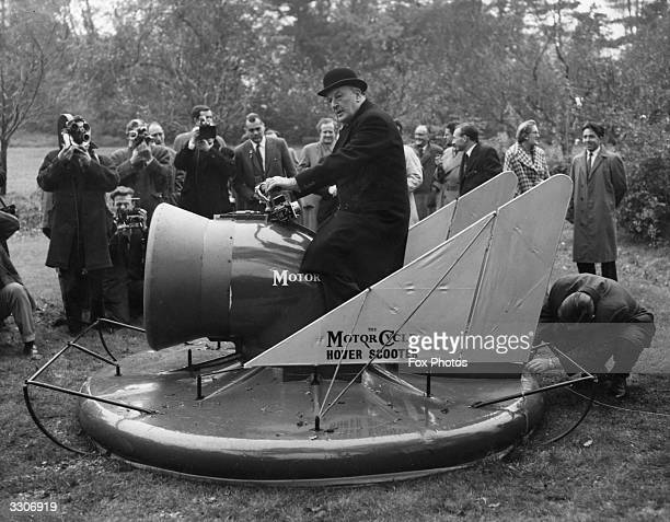 Lord Brabazon the pioneer British aviator demonstrates the hover scooter at Long Ditton in Surrey The machine has been developed by American engineer...